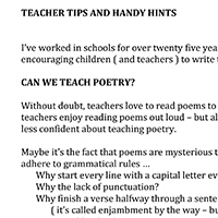 Teachers Tips and Handy Hints